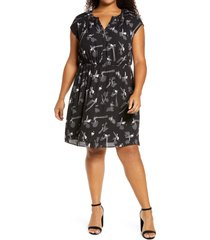 plus size women's daniel rainn print shift dress, size 3x - black