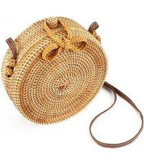 bolsa redonda de palha rattan artestore palha crua feminina