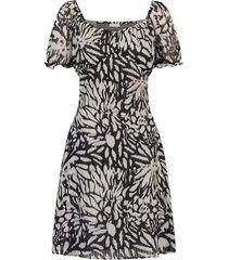 jurk met bloemenprint elissa  zwart