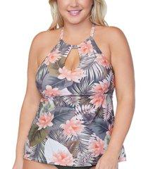 raisins curve trendy plus size rosalie underwire tankini top women's swimsuit