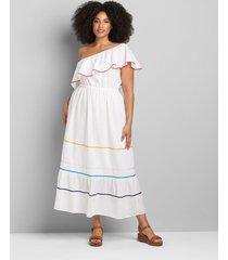 lane bryant women's one-shoulder ruffle-hem maxi dress 22p white