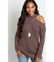 maurices womens destructed asymmetrical cold shoulder pullover sweater purple