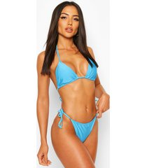 basic driehoekige bikini met strikjes, blauw