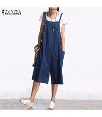 zanzea mamelucos para mujer mono verano otoño mangas de la manera pierna ancha pantalones de mezclilla pantorrilla el traje de la vendimia s-5xl -azul