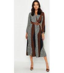 tall animal print wrap midi dress, tan