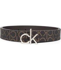 calvin klein logo-print 30mm belt - brown