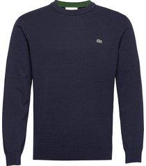 mens sweater stickad tröja m. rund krage blå lacoste
