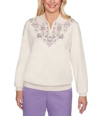 alfred dunner petite loire valley embroidered sweatshirt