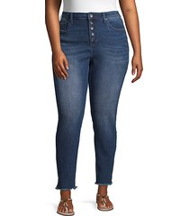 plus high-rise frayed button skinny jeans