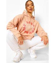 oversized love yourself hoodie, dusky pink