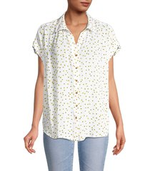 for the republic women's floral-print collared top - white - size m