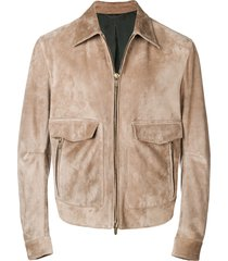 ajmone fitted zipped jacket - neutrals