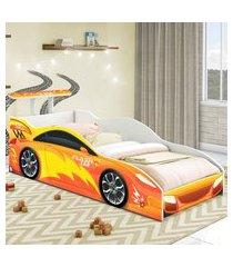 cama carro solteiro laranja casah