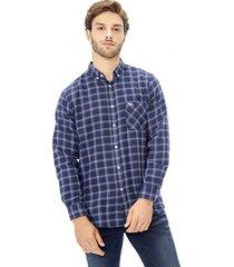camisa franela basica azul corona