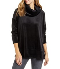 loveappella velvet cowl neck tunic top, size x-small in black at nordstrom