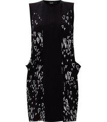 patterned mouwloze jurk