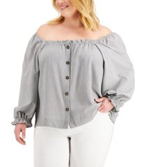 calvin klein plus size striped off-the-shoulder button top