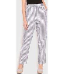pantalón wados crop list lino azul - calce regular