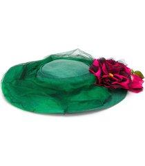 a.n.g.e.l.o. vintage cult 1950's floral appliqué hat - green