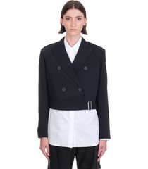 helmut lang belted blazer blazer in black wool