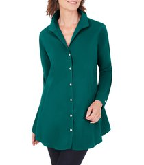 petite women's foxcroft cecelia non-iron button-up tunic shirt, size 4p - green