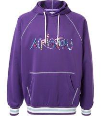 a(lefrude)e embroidered logo hoodie - purple