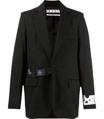 off-white strap fastening blazer - black