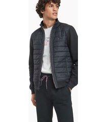 tommy hilfiger men's essential mixed media jacket, jet black - xl