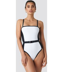 hannalicious x na-kd thin strap waist belted swimsuit - white