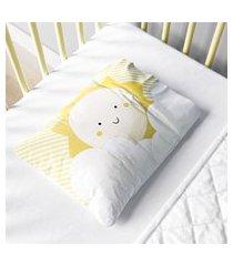 fronha bebê nuvem de algodáo e sol amarelo gráo de gente amarelo