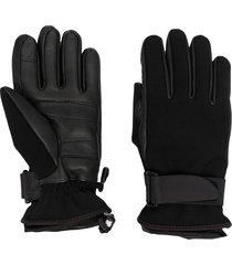 moncler grenoble buckle-fastening logo-embroidered gloves - black