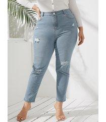 yoins plus tamaño de bolsillo diseño detalles de rotos al azar denim pantalones
