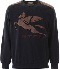 etro macro pegasus logo sweatshirt