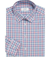 contemporary-fit plaid cotton poplin dress shirt