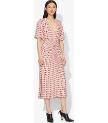 proenza schouler checkered jacquard short sleeve dress ecru poppy/white 4