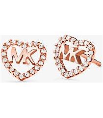 mk orecchini a bottone in argento sterling con placcatura in metallo prezioso pavé e logo a forma di cuore - oro rosa (oro rosa) - michael kors