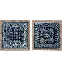 dekoracja ścienna orientalna 41x41cm niebieska