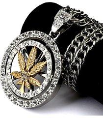 collana chunky lunga della catena steampunk della roccia del pendente del foglio di acero degli uomini