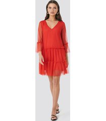 na-kd ruffle mesh mini dress - red