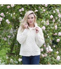 soft touch ladies aran zip cardigan cream medium