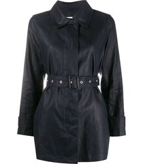 mackintosh belted short trench coat - blue