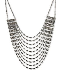 """thalia sodi silver-tone baguette-crystal multi-row statement necklace, 17"""" + 3"""" extender, created for macy's"""