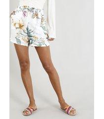 short clochard feminino estampado floral com bolsos off white
