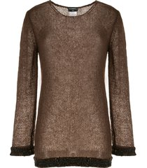 chanel pre-owned open knit blouse - brown