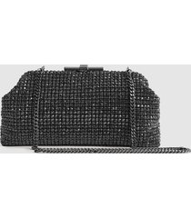 reiss adaline - embellished clutch in gunmetal, womens