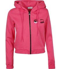 chiara ferragni zipped fluo hoodie