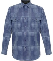 pendleton boro blue virgin wool shirt aa552-31865