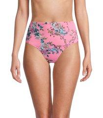 johnny was women's malakey floral high-rise bikini bottoms - size l
