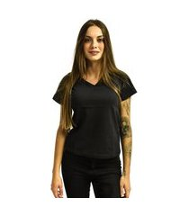 camiseta nakia gola v básica feminina lisa malha manga curta preta