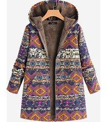 cappotto con cappuccio stampa etnica